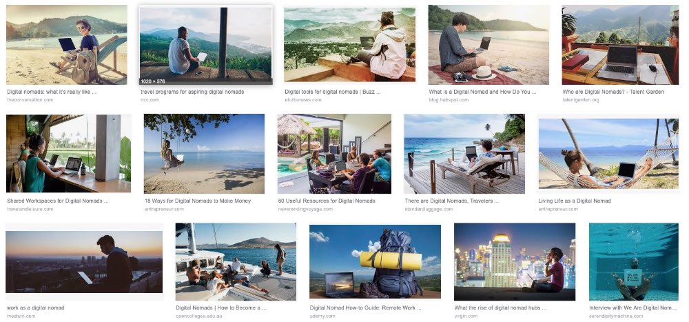 pictures of many privileged people sitting by the beach with their computer