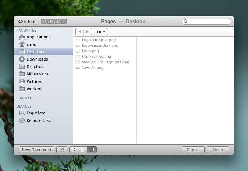 The new file location dialogue in Mountain Lion
