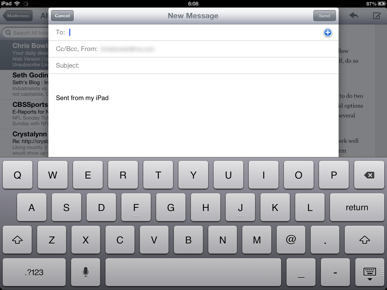 Mail app's keyboard layout