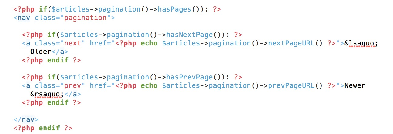 Page pagination