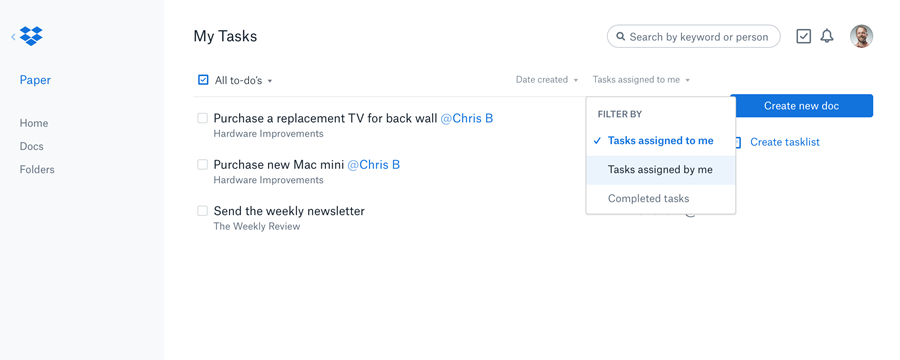 Paper includes a new menu option to see all tasks across documents